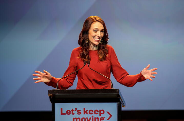 New Zealand Prime Minister Ardern speaks at the Labour Party election night event in Auckland