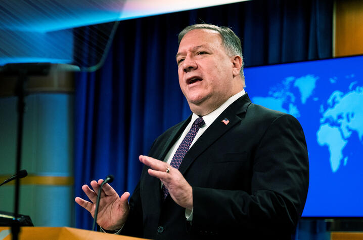 U.S. Secretary of State Mike Pompeo speaks during a news conference at the State Department, in Washington