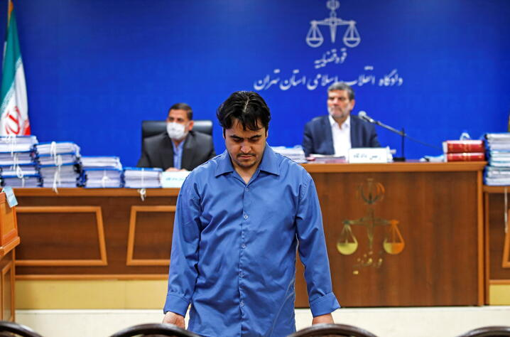 Ruhollah Zam, a dissident journalist who was captured in what Tehran calls an intelligence operation, is seen during his trial in Tehran