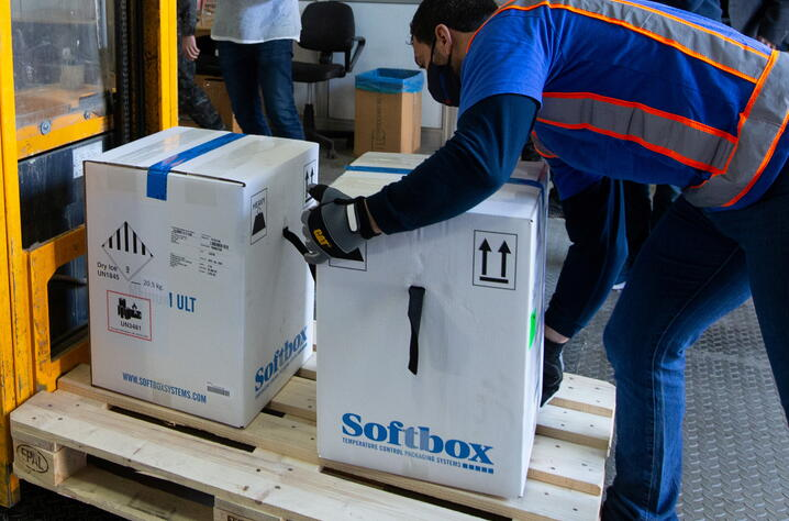 Boxes of Pfizer-BioNtech COVID-19 vaccines arrive at an undisclosed location in Nicosia