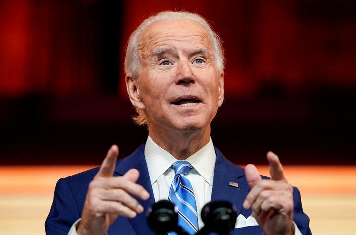 FILE PHOTO: U.S. President-elect Joe Biden delivers a speech in Delaware