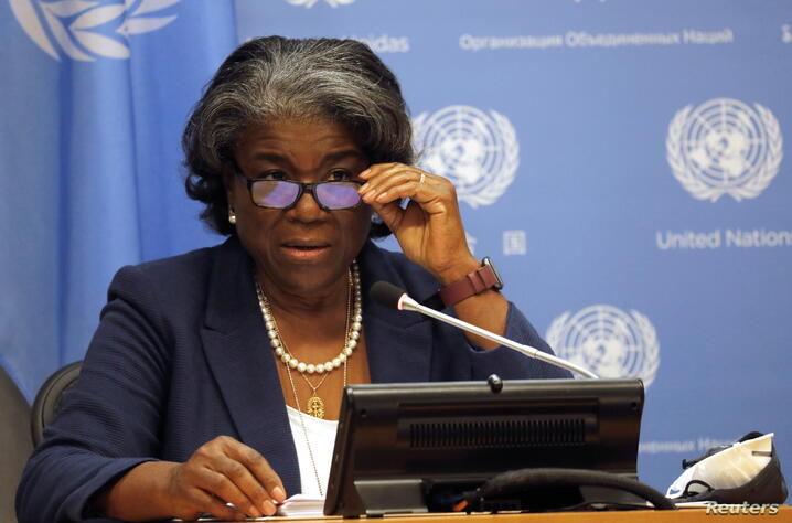 New U.S. Ambassador to United Nations, Linda Thomas-Greenfield holds news conference in New York