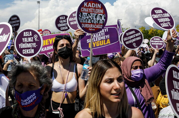 Protest against Turkey's withdrawal from Istanbul Convention, in Istanbul