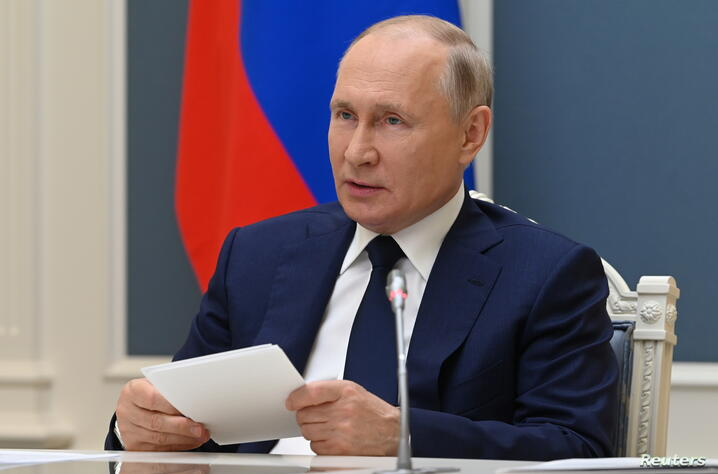 Russian President Putin attends a session of the 8th Forum of Regions of Belarus and Russia via video link in Moscow