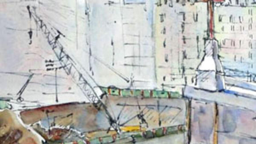 A watercolor by Aggie Kenny of workers at ground zero