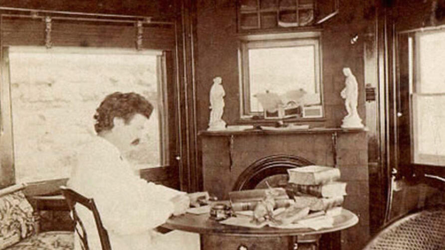 Mark Twain in Elmira, New York in 1874, where his family spent summers and he did much of his writing.