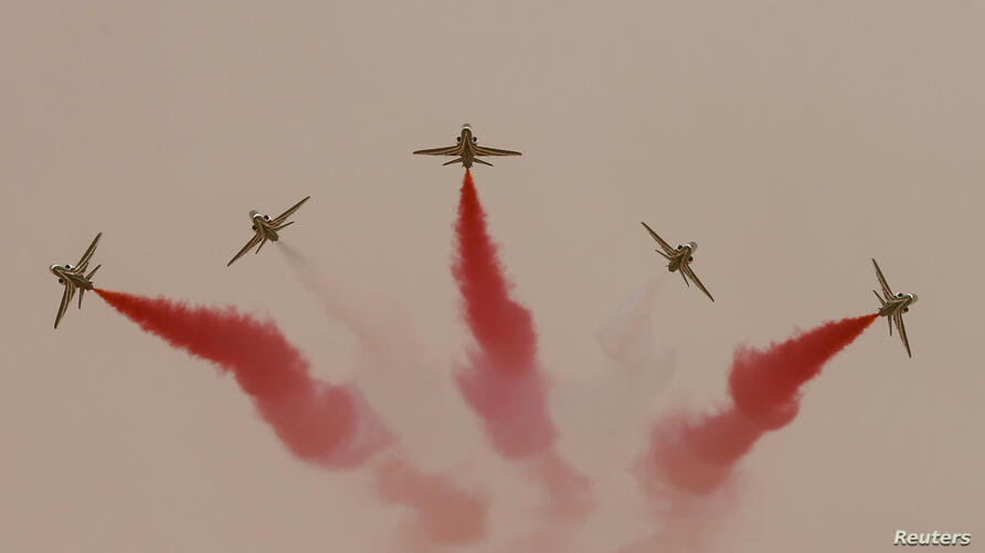 Jets perform during Saudi security forces' Abdullah's Sword military drill in Hafar Al-Batin, near the border with Kuwait.