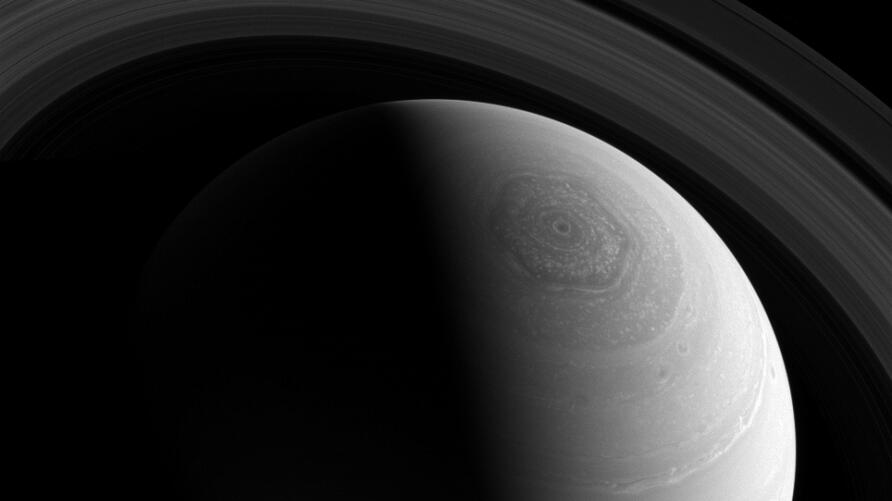 This image of Saturn, taken with the Cassini spacecraft wide-angle camera on Nov. 23, 2013 and released Monday, was taken using a spectral filter that preferentially admits wavelengths of near-infrared light centered at 752 nanometers. The view was obt...