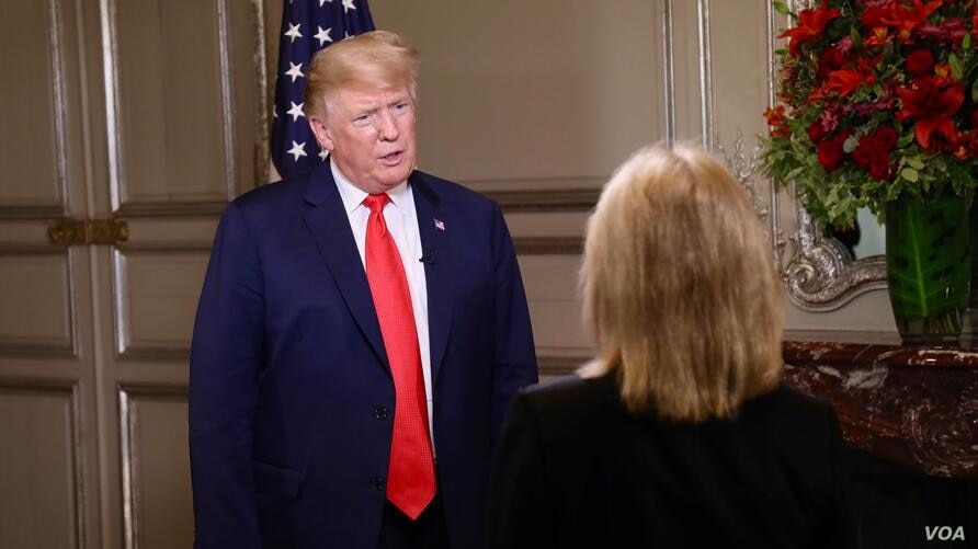 President Donald Trump answers a question from VOA contributor Greta Van Susteren on the sidelines of the G-20 Summit in Buenos Aires, Argentina, Nov. 30, 2018.