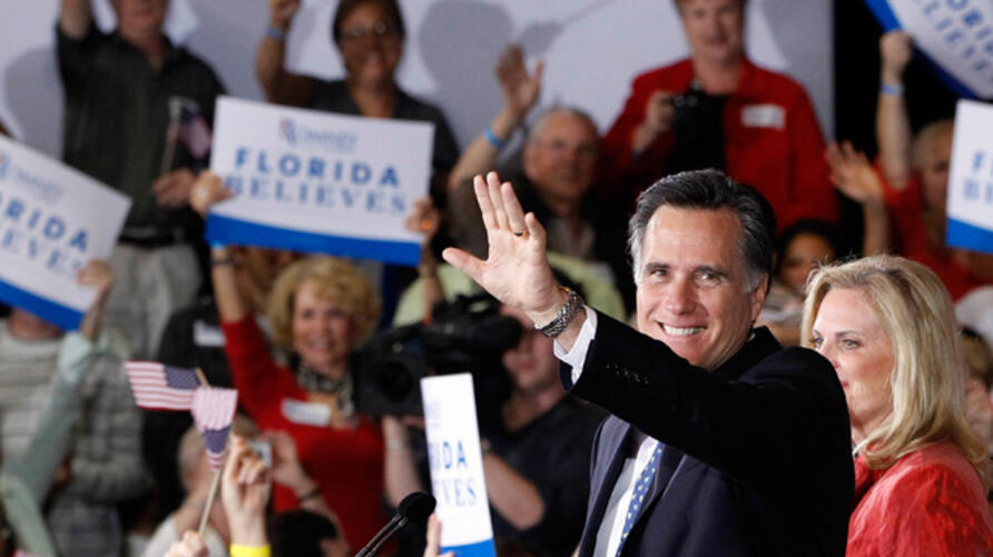 Republican presidential candidate Mitt Romney celebrates his Florida primary election win at the Tampa Convention Center on January 31, 2012. (AP)