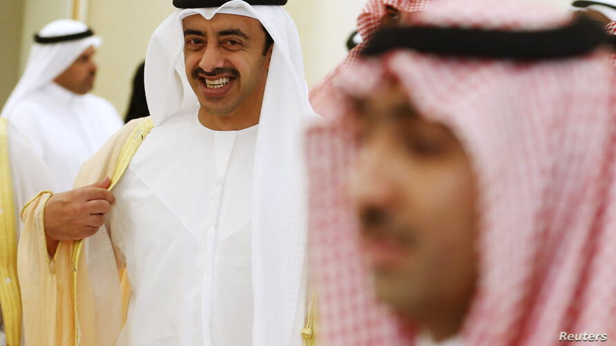 United Arab Emirates Foreign Minister Affairs Sheikh Abdullah bin Zayed Al Nahyan (L) arrives arrives to attend the Gulf…