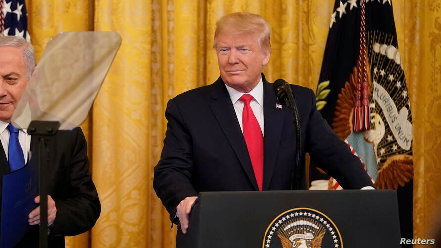 U.S. President Donald Trump delivers joint remarks on a Middle East peace plan proposal with Israel's Prime Minister Benjamin Netanyahu
