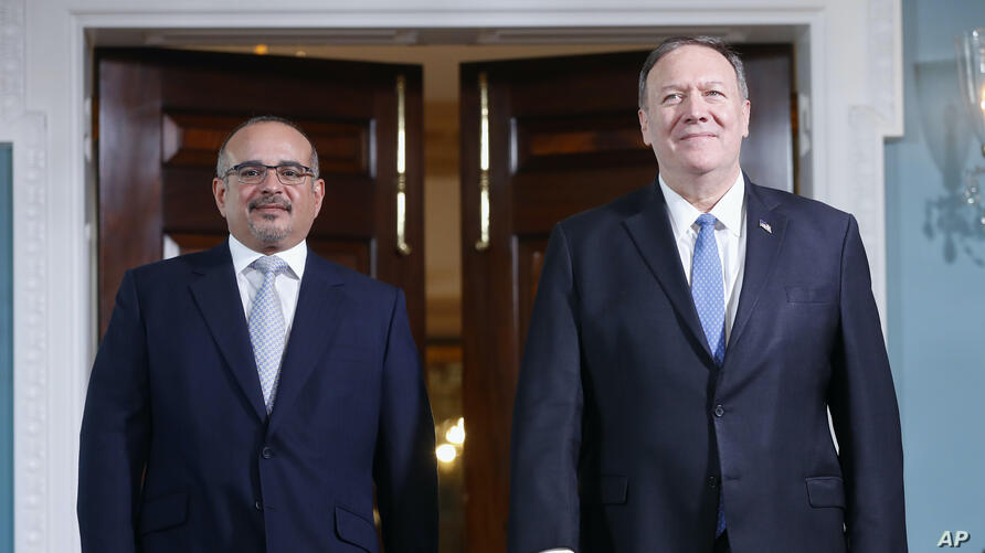 Secretary of State Mike Pompeo, right, with Bahrain's Crown Prince Salman bin Hamad Al Khalifa​, left, during their meeting at…