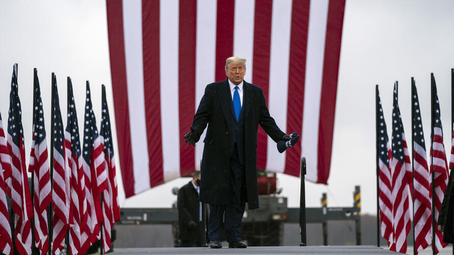 President Donald Trump arrives at Capital Region International Airport for a campaign rally, Tuesday, Oct. 27, 2020, in Lansing…