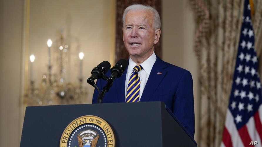 President Joe Biden delivers a speech on foreign policy, at the State Department
