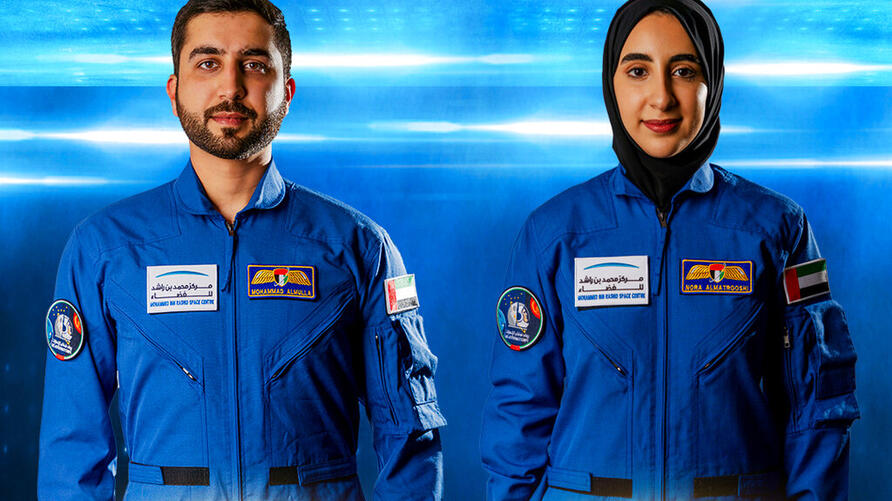 In this undated handout photograph from the United Arab Emirates' state-run WAM news agency, newly named Emirati astronauts…