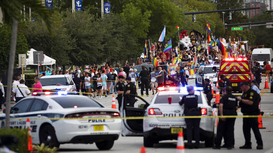 Police and firefighters respond after a truck drove into a crowd of people injuring them during The Stonewall Pride Parade and…