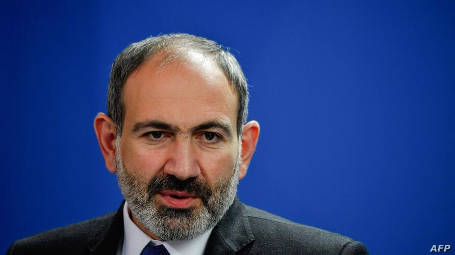 (FILES) In this file photo taken on February 1, 2019 Armenian Prime Minister Nikol Pashinyan holds a joint press conference…