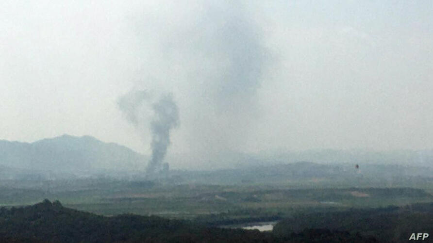 Smoke rise from North Korea's Kaesong Industrial Complex where an inter-korean liaison office was set up in 2018, as seen from…