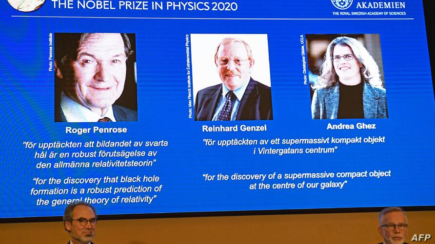 David Haviland (L), member of the Nobel Committee for Physics, and Goran K Hansson, Secretary General of the Academy of…