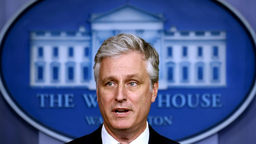 (FILES) In this file photo taken on August 13, 2020, National Security Advisor Robert O'Brien speaks during a press briefing at…