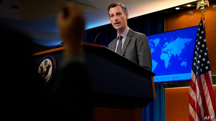 US State Department spokesman Ned Price takes questions from reporters during a press briefing at the State Department in…
