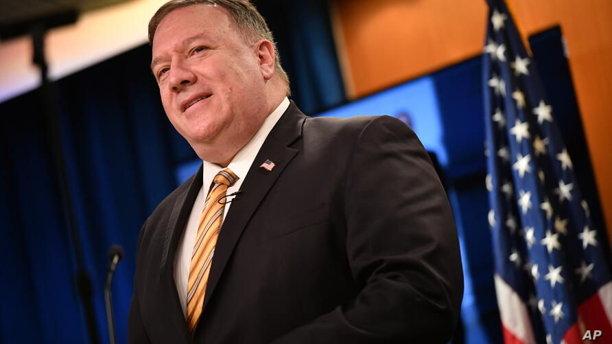 Secretary of State Mike Pompeo speaks during a news conference at the State Department in Washington, Wednesday, June 24, 2020…