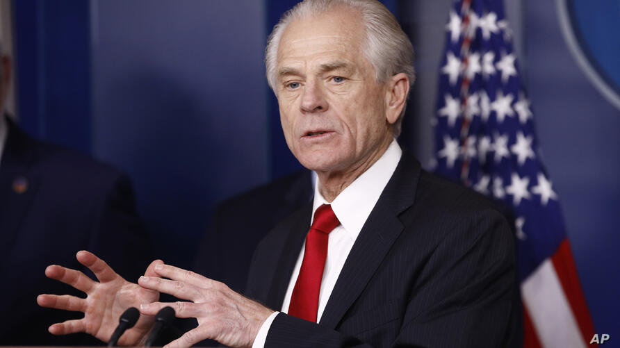 White House trade adviser Peter Navarro speaks during a coronavirus task force briefing at the White House, Sunday, March 22,…