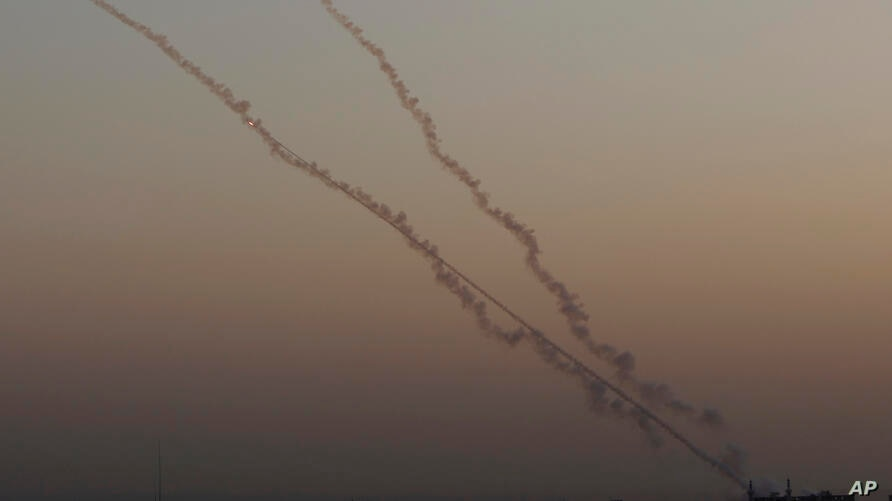 Rockets are launched from the Gaza Strip towards Israel, Wednesday, Nov. 13, 2019. Israeli airstrikes pounded Islamic Jihad…