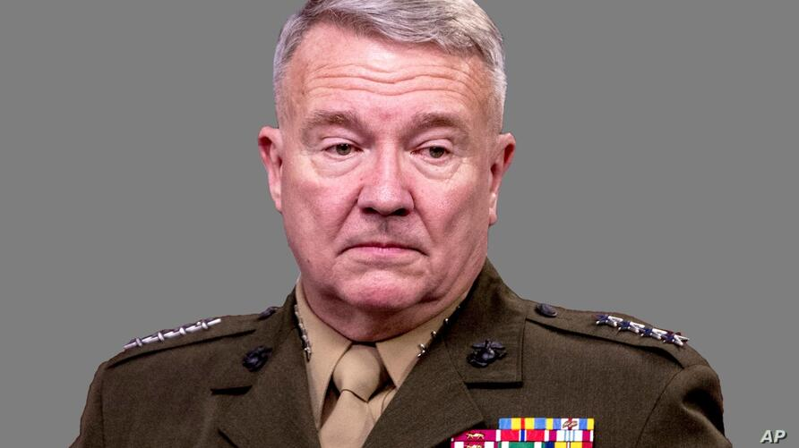 Kenneth McKenzie Jr. headshot, as US Marine Corps General and US Central Command Commander, graphic element on gray