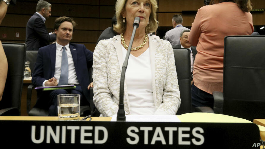 U.S. Ambassador Jackie Wolcott waits for the start of the International Atomic Energy Agency, IAEA, board of governors meeting…