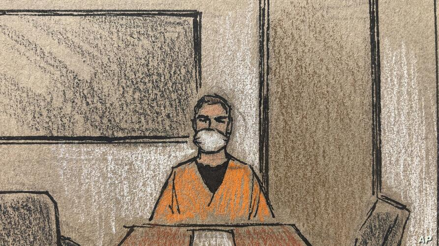 In this courtroom sketch, former Minneapolis police officer Derek Chauvin appears on closed-circuit television from a maximum…