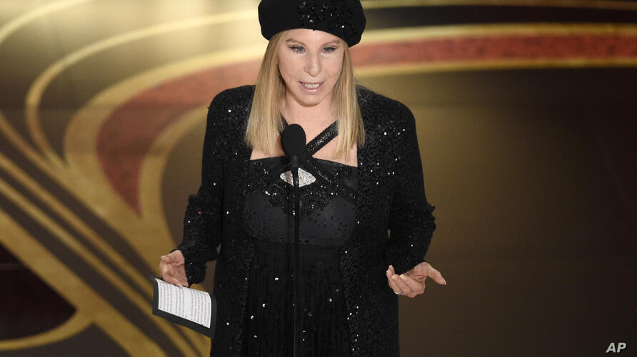 "FILE - In this Feb. 24, 2019 file photo, Barbra Streisand introduces ""BlacKkKlansman"" at the Oscars at the Dolby Theatre in Los…"