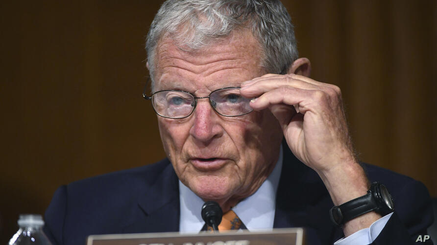 Sen. James Inhofe, R-Okla., listens during a Senate Environment and Public Works Committee oversight hearing to examine the…