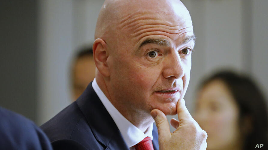 FIFA President Gianni Infantino attends the World Economic Forum in Davos, Switzerland, Tuesday, Jan. 21, 2020. The 50th annual…