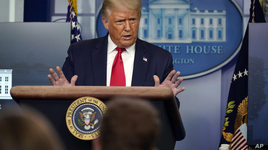 President Donald Trump speaks during a news conference at the White House, Tuesday, July 28, 2020, in Washington. (AP Photo…