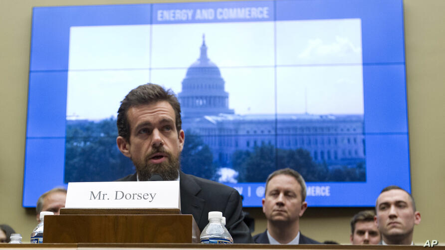 Twitter CEO Jack Dorsey testifies before the House Energy and Commerce Committee on Capitol Hill, Wednesday, Sept. 5, 2018, in…