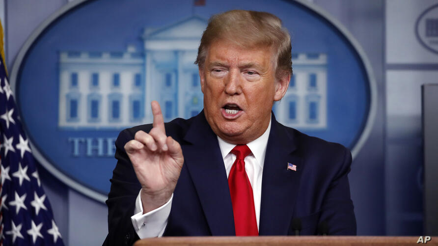 President Donald Trump speaks about the coronavirus in the James Brady Press Briefing Room at the White House, Monday, April 13…