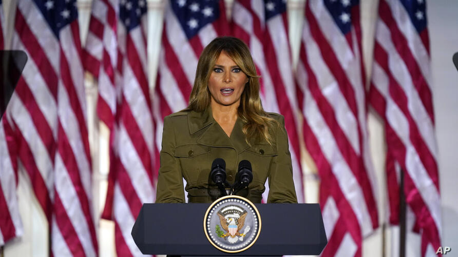 First lady Melania Trump speaks on the second day of the Republican National Convention from the Rose Garden of the White House…