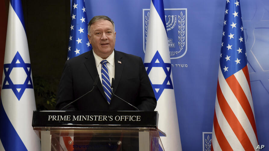 U.S. Secretary of State Mike Pompeo and Israeli Prime Minister Benjamin Netanyahu make joint statements to the press after…