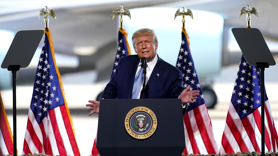 President Donald Trump speaks to a crowd of supporters at the Yuma International Airport Tuesday, Aug. 18, 2020, in Yuma, Ariz…