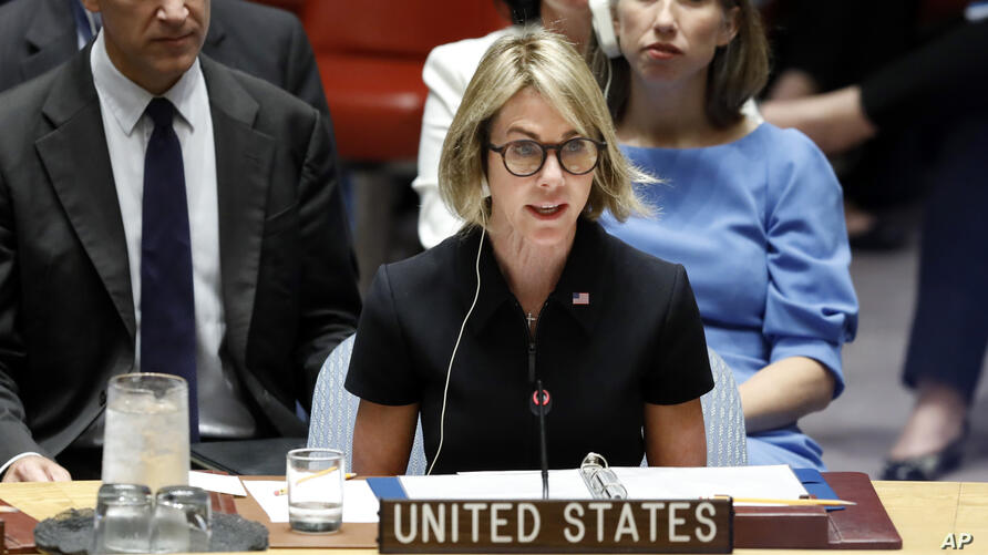 New U.S. Ambassador Kelly Craft addresses her first Security Council meeting, at United Nations headquarters, Thursday, Sept…
