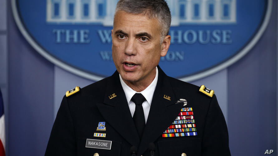 National Security Agency Director Gen. Paul Nakasone speaks during the daily press briefing at the White House, Thursday, Aug…