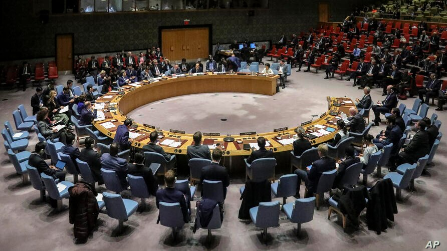 Members of the United Nations Security Council, with visiting German Foreign Minister Heiko Maas, convene a meeting on the…
