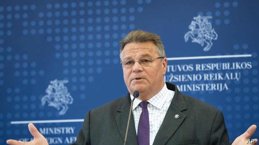 Lithuania's Minister of Foreign Affairs Linas Linkevicius answers questions during a meeting with the press in the Ministry of…