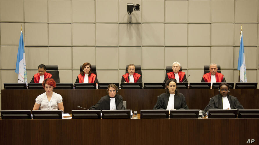 Judges, back row, from left, Janet Nosworthy, Micheline Braidi, Robert Roth, David Re and Walid Akoum of the UN-backed Special…