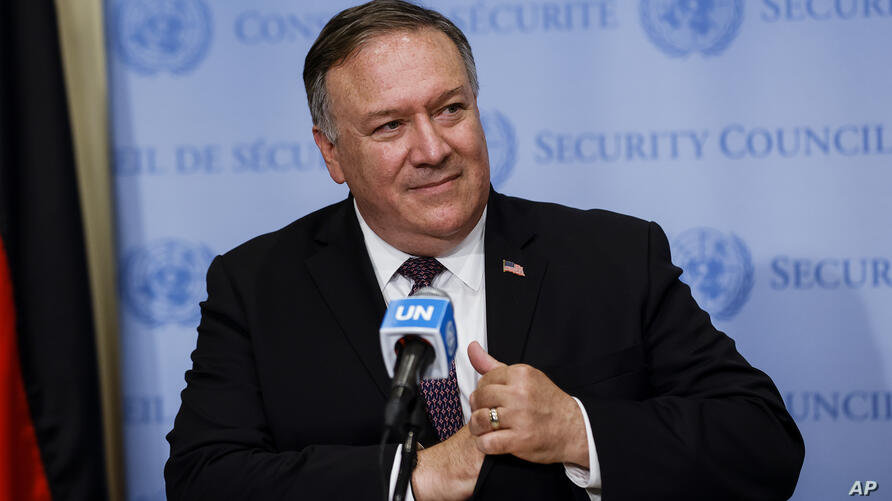 Secretary of State Mike Pompeo speaks to reporters following a meeting with members of the U.N. Security Council, Thursday,…