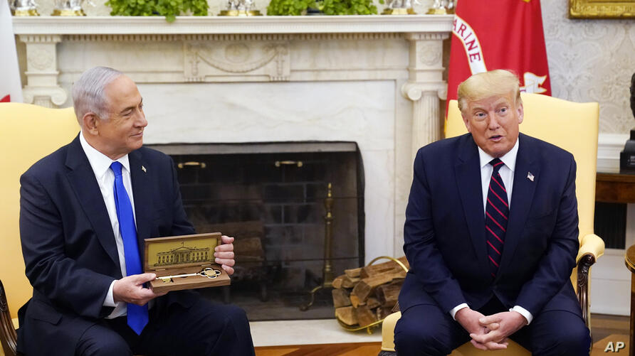 President Donald Trump meets with Israeli Prime Minister Benjamin Netanyahu in the Oval Office, Tuesday, Sept. 15, 2020, at the…