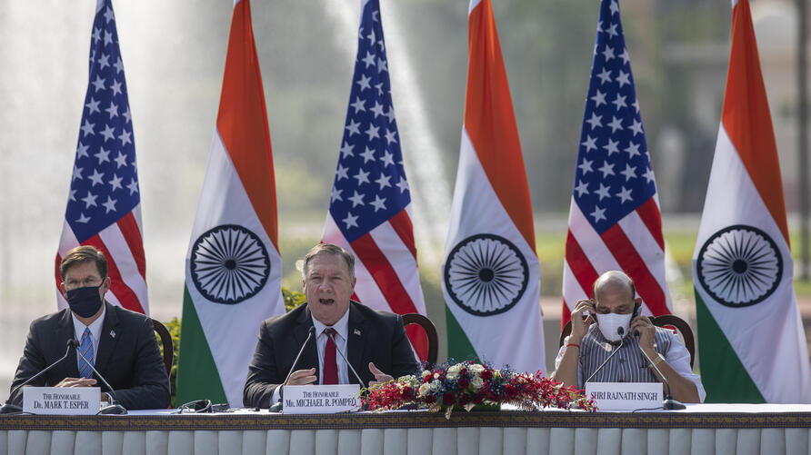 U.S. Secretary of State Mike Pompeo, center, speaks as Secretary of Defence Mark Esper, left, and Indian Defence Minister…