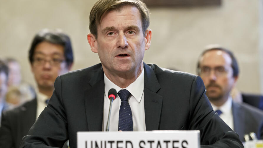 U.S.' David Hale, Under Secretary of State for Political Affairs of the Department of State, delivers his statement, during the…